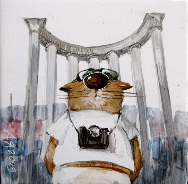 Миниатюра с котом-туристом на фоне входная арки Парка Победы в Севастополе Анатолия Ярышкина